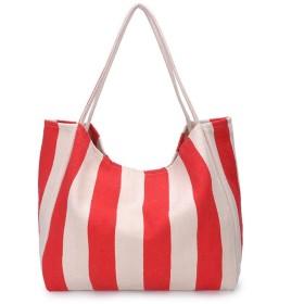 折りたたみ コンパクトバッグ ショッピングバッグ エコバッグ 買い物袋 コンビニバッグ 肩から提げれる ビッグサイズ 防水 (レッド)