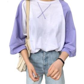 BSCOOLレディース tシャツ 7分袖 ゆったり トップス 切り替え ファッション おしゃれ tシャツ 韓国ファッション 白tシャツ(パープル)