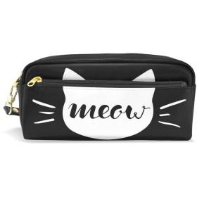 ALAZA ミャオ 猫 鉛筆 ケース ジッパー Pu 革製 ペン バッグ 化粧品 化粧 バッグ ペン 文房具 ポーチ バッグ 大容量