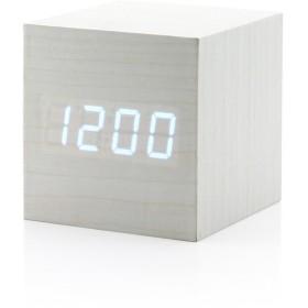 目覚まし時計 Sakula テーブルクロック LED 木製時計 音声感知 アラームクロック 温度計多機能 置き時計 インテリア 時計 デジタル時計(白+白字)