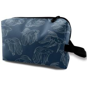 化粧ポーチ コンパクトサイズ,暗いBlue_3741のベタの魚、オックスフォードの布の多彩な袋の小型旅行