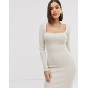 ミスガイデッド Missguided レディース ワンピース ミドル丈 ワンピース・ドレス knitted midi dress with square neck in cream クリー