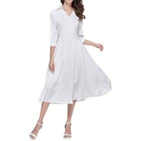 レディドレス 女性半袖Vネックベルト付きシャツドレスカジュアルオフィススウィングAラインミディドレスエレガントなカクテルフォーマルイブニングパーティードレスウェディングゲストドレス (色 : 白, サイズ : L)