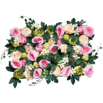 FLAMEER 造花 花の壁 人工観葉植物 ウォールアートパネル壁掛けウォールアート ローズ 牡丹 - シャンパンピンク
