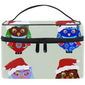 Christmas Owl旅行も便利 撥水する防水ポーチ 化粧ポーチ トラベルポーチ