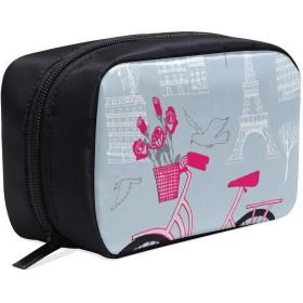 DMHYJ メイクポーチ パリの風景 ボックス コスメ収納 化粧品収納ケース 大容量 収納 化粧品入れ 化粧バッグ 旅行用 メイクブラシバッグ 化粧箱 持ち運び便利 プロ用