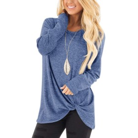 Casual Loose Pullover Sweatershirts Shirts Side Twist Knot Knit Henley Long Sleeve Crew Neck Tunic Blouse Tops Size S