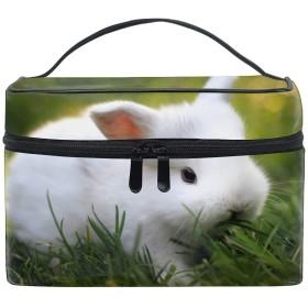 動物哺乳動物ウサギ草トイレタリーバッグ 収納ケース メイク収納 小物入れ 仕分け収納 防水 大容量 出張 旅行用