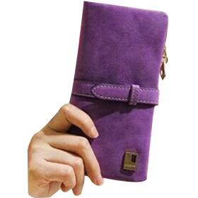 candy88レディース財布 長財布 可愛い 多機能 財布 PUレザー スクラブ ファスナー大容量 小銭入れ カード入れ 7色選択可 クラッチバッグ (パープル)