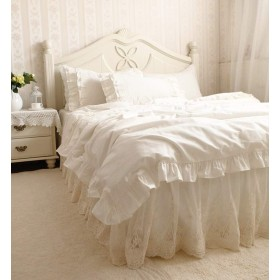 オフホワイト寝具カバー/華美な刺繍模様レースコットン掛布団カバーと枕カバー2枚 シングル