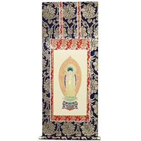 京仏壇はやし 掛軸 仏壇用 金襴 浄土宗 70代 本尊のみ 1枚 ◆高さ 39.7cm 幅 17.8cm 【 掛け軸 】
