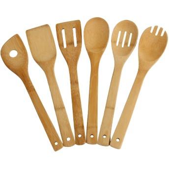 YBM HOME & KITCHEN Set of 6 Bamboo Kitchen Utensils 11.5 Long by Ybm Home & Kitchen