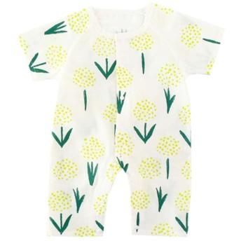 Milkiwai ベビーロンパース 半袖 女の子 男の子 フルプリント 丸首 夏服 多様な様式 size 80 (たんぽぽ)