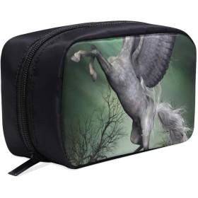 GGSXD メイクポーチ 翼のある馬 ボックス コスメ収納 化粧品収納ケース 大容量 収納 化粧品入れ 化粧バッグ 旅行用 メイクブラシバッグ 化粧箱 持ち運び便利 プロ用