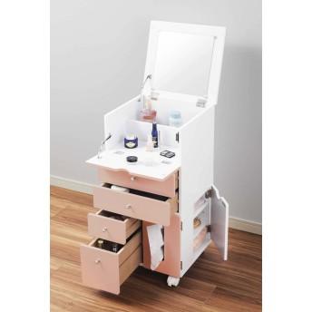 メイクボックス 鏡付 コスメワゴン 幅35cm 化粧ボックス メイク 収納/ピンク