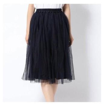 テチチ テラス アウトレット Te chichi TERRASSE outlet チュール×チェックギャザースカート (ネイビー)