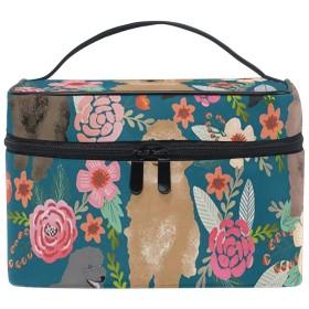 メイクポーチ プードル 花柄 化粧ポーチ 化粧箱 バニティポーチ コスメポーチ 化粧品 収納 雑貨 小物入れ 女性 超軽量 機能的 大容量