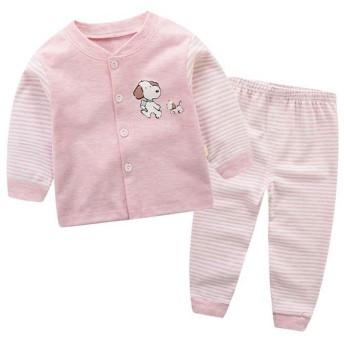ARAUS ベビー 肌着 スーツ 下着 2点セット 上下セット パジャマ 長袖 長ズボン トップス ロングパンツ 保温インナー ヒートテック 快適 こども 男の子 女の子 キッズ 新生児 柔らか 温暖 暖かい 遊ぶ 春 秋(3-9ヶ月用) (3-6ヶ月, ピンク犬)