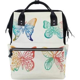 LALATOP ママ用 カラフルな蝶大容量 ベビー用おむつバッグ 多機能 旅行用バックパックおむつ バックパック Lサイズ マルチカラー