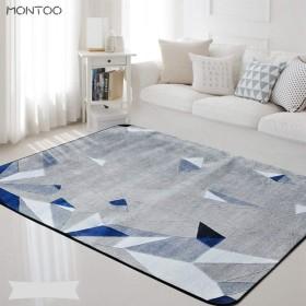 ラグ ラグマット モザイク柄 パッチワーク柄 カーペット ラグカーペット 長方形 ラグ 絨毯 ミッドセンチュリー 西海岸 敷物 マット 100cm 100×150 幾何学 ブルー 青 デニムブルー