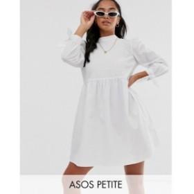 エイソス ASOS Petite レディース ワンピース ミニ丈 ASOS DESIGN Petite high neck mini smock dress with pin tucks and tie sleeves