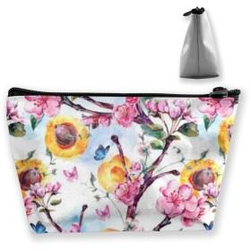 果物と花のアプリコットの木 収納ポーチ 化粧ポーチ トラベルポーチ 小物入れ 小財布 防水 大容量 旅行 おしゃれ