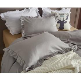 【サンマドラ】枕カバー 2枚セット ピロケース フリル付き 46cmx63cm 封筒式 合わせ式 肌に優しい ライトグレー