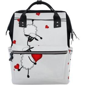 ママバッグ マザーズバッグ リュックサック ハンドバッグ 旅行用 赤い心と羊柄 ファション