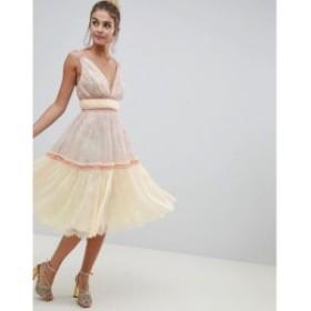 エイソス ASOS DESIGN レディース ワンピース ミドル丈 ワンピース・ドレス Delicate Lace Midi Prom Dress In Soft Colourblock