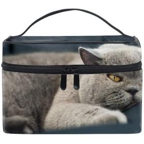 化粧ポーチ メイクポーチ コスメポーチ かわいい 猫灰色ネコ動物怠惰小物入れ おしゃれ レディース 機能的 ギフト プレゼント