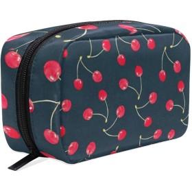 さくらんぼ柄 化粧ポーチ メイクポーチ 機能的 大容量 化粧品収納 小物入れ 普段使い 出張 旅行 メイク ブラシ バッグ 化粧バッグ