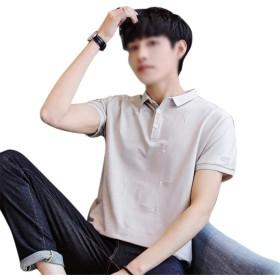 TAALESET カジュアルな半袖の男性の夏のメンズファンシーシャツショーツカジュアルな半袖Tシャツ (色 : 杏色, サイズ : XXL)