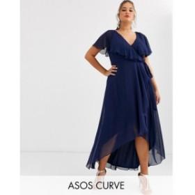 エイソス ASOS Curve レディース ワンピース マキシ丈 ワンピース・ドレス ASOS DESIGN Curve cape back dipped hem maxi dress ディープ