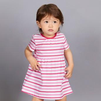 ミキハウス ボーダー半袖ワンピース ピンク