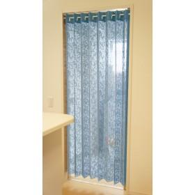アコーディオン カーテン 間仕切り のれん 目隠し 遮熱 冷気遮断 アラベスク 150×200cm丈 (ブルー)