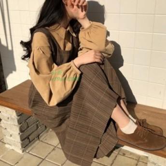 セットアップ レディース 春秋 パフスリーブ 長袖 きれいめ プリーツスカート 可愛い チェック サロペットスカート 学院風 オシャレ コー