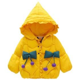 キャンデイ(candy88)ベビー服 子ども ダウンジャケット 女の子 男の子 ダウンコート 中綿ジャケット キッズ 中綿コート アウター フード付き 冬 防寒 (6番, イェロー)