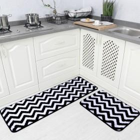 (Black) - Carvapet 2 Pieces Microfiber Chevron Non-Slip Soft Kitchen Mat Bath Rug Doormat Runner Carpet Set, 43cm x 120cm +43cm x 60cm, Black