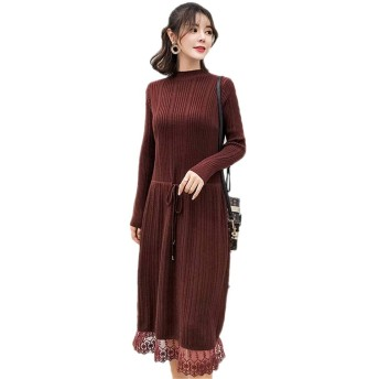 DRASAWEE(JP)ワンピース ワンピースセーター セーター Aライン 妊婦服 マタニティ 産前産後 ゆったり ミモレ丈 韓国風 レース裾 フリーサイズ 柔らかい