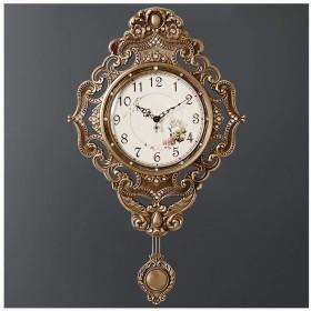 壁時計ノンチックバッテリー駆動のリビングルームの装飾サイレントレトロ寝室ヴィンテージヨーロッパ振り子装飾大真鍮壁時計