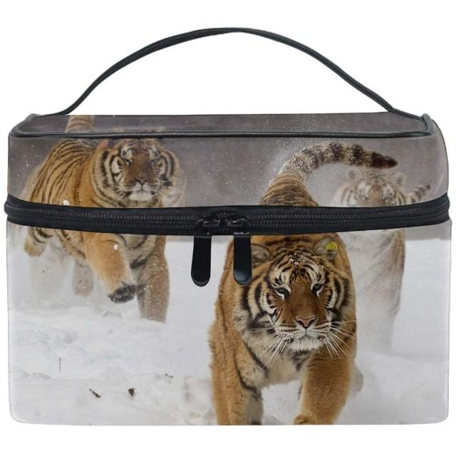 ユニーク シベリアトラの走っている動物大きな猫 おしゃれな メイクアップバッグ メイク道具 小物 お財布 化粧品 軽く 化粧ポーチ