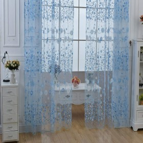 100 x 270cm Chiffon Gauze Voile Wall Room Divider Floral Printed Window Curtain for Bedroom Living Room (AZURE)