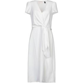 《期間限定セール開催中!》ELISABETTA FRANCHI レディース 7分丈ワンピース・ドレス ホワイト 40 ポリエステル 100%