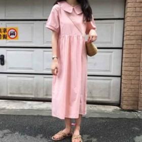 ワンピース ガーリー フェミニン ロング丈 半袖 韓国ファッション オルチャンファッション