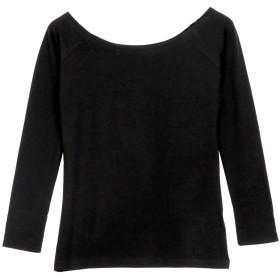 [神戸レタス] 寒い冬も快適に +5.0℃ 発熱 ロングTシャツ [H500] M オフショルブラック