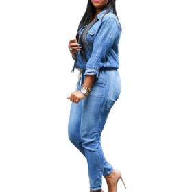 AngelSpace 女性はシングルスキニー居心地の良い総合的なプレミアムジャンプスーツスーツロンパー Blue M