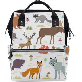 ママバッグ マザーズバッグ リュックサック ハンドバッグ 旅行用 動物 狐 鹿 熊柄 ファション