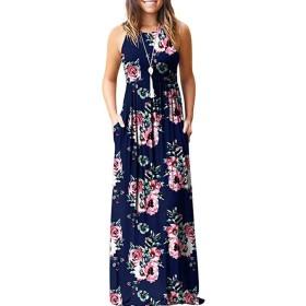 Funtoget 夏のビーチパーティーのための女性のノースリーブラウンドカラー印刷ロングドレスサンドレス