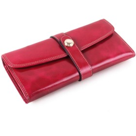 BOBIDYEE ワックスレザー財布レディースレザー財布両面ステッカー財布ファッション (色 : ローズレッド)