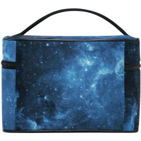 ユキオ(UKIO) メイクポーチ 大容量 シンプル かわいい 持ち運び 旅行 化粧ポーチ コスメバッグ 化粧品 星空 ブルー レディース 収納ケース ポーチ 収納ボックス 化粧箱 メイクバッグ